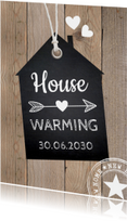Housewarming houtprint label krijtbord