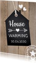 Housewarming houtprint label krijtbord