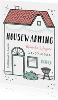 Housewarming uitnodiging huis bbq feestje