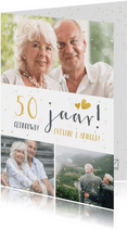 Huwelijksjubileum fotocollage uitnodiging met 3 foto's
