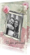 Huwelijksjubileum fotolijst roos romantisch