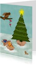 Illustratie kerstkaart verhuisdozen bij kerstboom dag