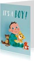 It's a boy! baby met knuffels
