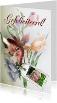 Jarig bloemen en naamkaartje b