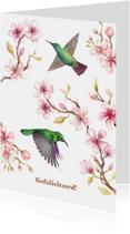 Jarigkaart kersenbloesem met kolibri's