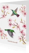 Verjaardagskaart kersenbloesem met kolibri's