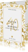 Jubiläumskarte zum 40. Hochzeitstag mit goldenen Blättern