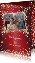Jubileum trouwdag stijlvolle rode foto uitnodiging