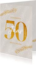 Jubileum uitnodiging 50 jaar getrouwd goudlook