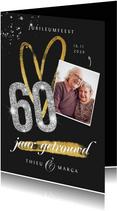 jubileum uitnodiging 60 jaar diamant foto glitter goud
