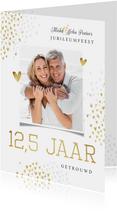 Jubileumfeest uitnodiging 12,5 jaar goud hartjes stijlvol