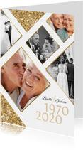 Jubileumfeest uitnodiging fotocollage goud jaartallen