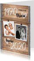 Jubileumfeest uitnodiging industrieel hout huwelijk