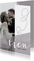 Jubileumkaart 10 jaar samen/getrouwd met krijtkleur paars