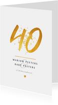 Jubileumkaart 40 jaar huwelijk goudlook klassiek