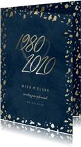 Jubileumkaart 40 jaartallen donkerblauw met terrazzo