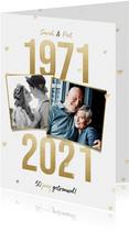 Jubileumkaart 50 jaar getrouwd gouden jaartallen 1971 - 2021
