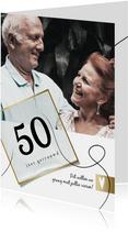 Jubileumkaart 50 jaar huwelijk, wit met goudlook