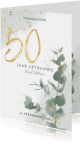 Jubileumkaart 50 jaar met waterverf takje en gouden spetters