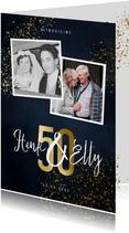 Jubileumkaart 50 jaar stijlvol goudlook met foto en spetters