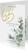 Jubileumkaart 65 jaar getrouwd met waterverf takje en goud