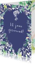 Jubileumkaart aanpasbaar, met hartje van bloemen