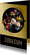 Uitnodiging Jubileum bloemen oude meesters met goud detail