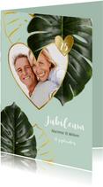 Jubileumkaart botanisch achtergrondkleur en jaar aanpasbaar