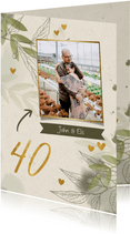 Jubileumkaart foto met takjes, gouden hartjes en waterverf