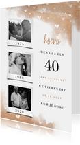 Jubileumkaart fotocollage 3 foto's met koper en hartjes
