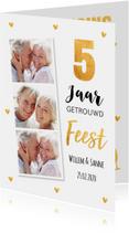 Jubileumkaart fotocollage goud hartjes 5 jaar