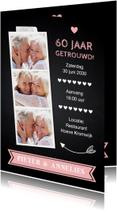 Jubileumkaart fotocollage krijtbord roze hartje
