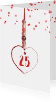 Jubileumkaart hart label 25