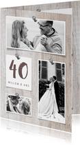Jubileumkaart hout met fotocollage en spijkers
