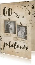 Jubileumkaart 'jubileum' vintage met getal en foto's