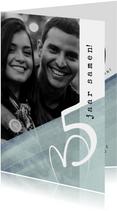 Jubileumkaart modern, 5 jaar samen eenvoudig met hart