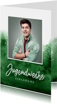 Jugendweihe Einladung Foto Aquarell grün