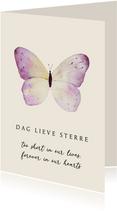 Kaart overlijden kind pastel vlinder
