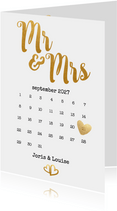 Kalender Mr & Mrs goud - BK