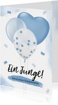 Karte Glückwunsch Geburt Junge Luftballons