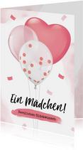 Karte Glückwunsch Geburt Mädchen Luftballons