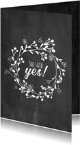 Karte Glückwunsch Verlobung 'She said yes'