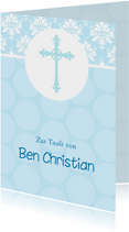 Karte Gratulation Taufe Kreuz klassisch hellblau