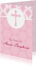 Karte Gratulation Taufe Kreuz klassisch rosa