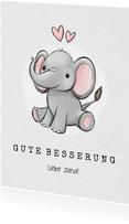 Karte Gute Besserung für Kind mit Elefant