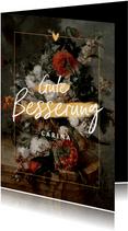 Karte Gute Besserung mit klassischem Blumenstillleben