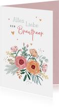 Karte mit Blumen Glückwunsch Brautpaar