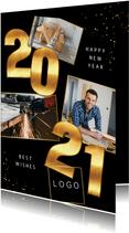 Karte Neujahr Firma Fotocollage und Jahreszahl