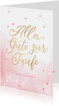 Karte rosa Glückwunsch Taufe Schreibschrift
