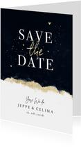Karte Save-the-Date Hochzeit Aquarell schwarz-gold